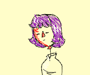girl with balloon head and purple hair