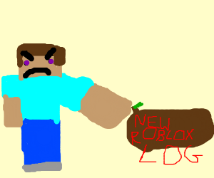minecraft steve pointing at the new roblox log