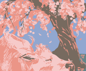 Cow with pink spots under cherry blossom tree