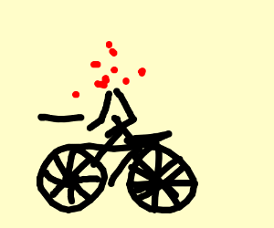 Human without head bicycling
