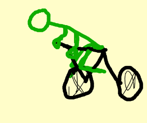 Green guy riding a bike