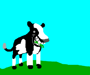 Happy cow eating grass