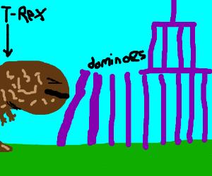 T-Rex prematurely knocks down dominos