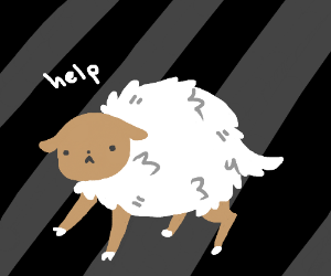 Sheep captured in the realms of nothingness
