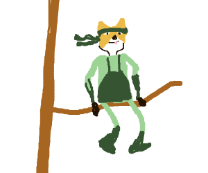 Snake with a dog mask on a branch