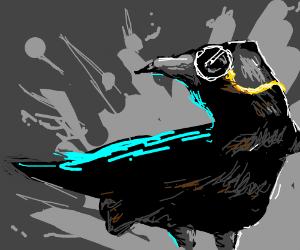 a crow wearing a monocle