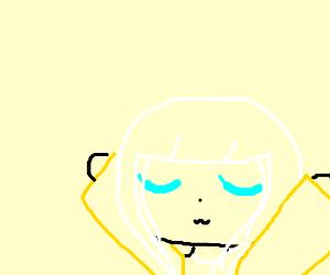 White hair blue eyes girl, doing yoga I think?