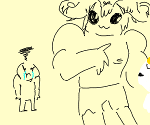 Guy obviously jealous of buff dude with horns