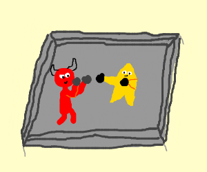 Satan in a boxing match against star