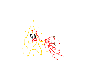 a star fighting a red devil