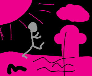 a guy running in a black and pink void