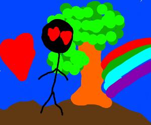 Man likes rainbows, hearts,  and trees