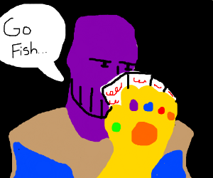 Thanos Playin Cards With The Infinity Gauntlet