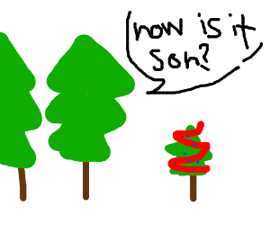 Parent trees decorate their little tree