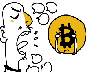 Man argues with a bitcoin