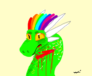 Green Dragon with Rainbow Mohawk is Bleeding.