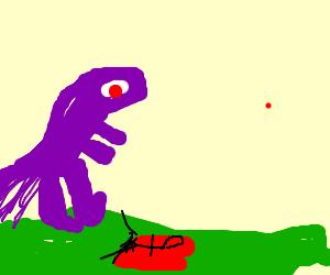 purple dinosaur murdering a black man