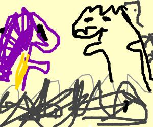 Barney vs Godzilla