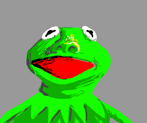 Kermit with human nose, especially red mouth.