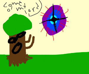 tree causes a dimensional portal in the sky