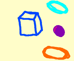 a blue box with a ball in a portal