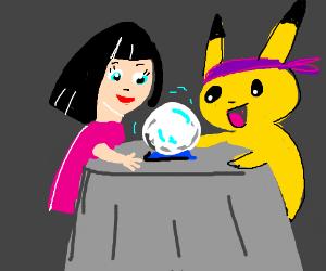 Cute girl with a medium pikachu