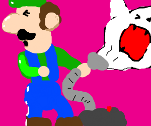 Luigi sucks up a boo with the poltergust 3000