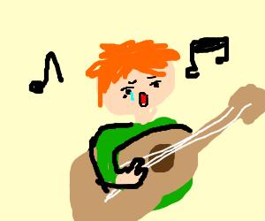 Guy (maby ed sheeran?) Singing sad song