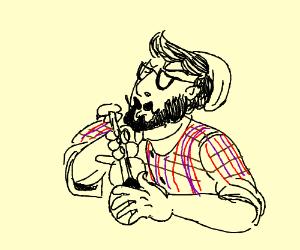 Hipster playing ukulele