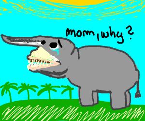 hippo with a goblin shark face