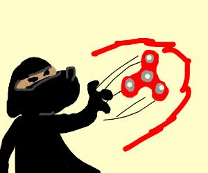 Ninja dog throwing fidget spinner