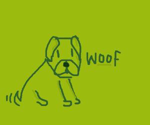 Green doggo does a woof