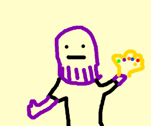 Purple guy with gold gloves
