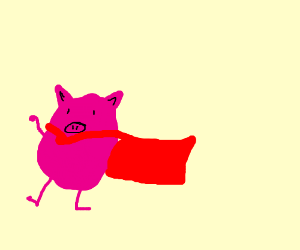 fat piggy wearing a cape