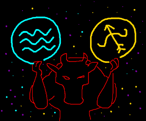 bull holding Aquarius and Sagittarius Symbols