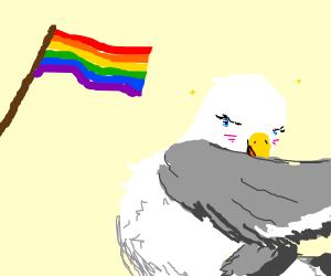 Seagull blushing at pride flag