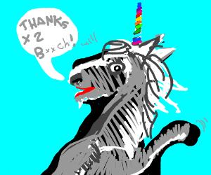 Unicorn says thanks thanks b!tch