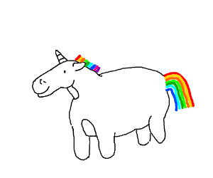 fat unicorn with nubs instead of legs