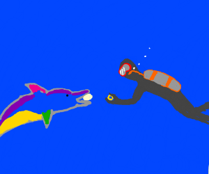 diver gives ring 2 colourful dolphin eatin egg