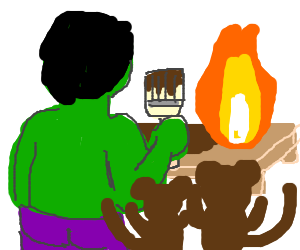 Hulk painting table on fire w/ monkeys
