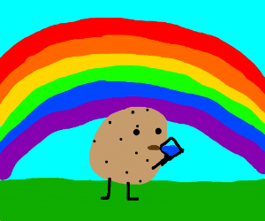potato drinks water under a rainbow