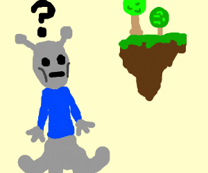 Alien confused by floating island