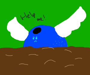 angry blueberry with wings drowns in mud