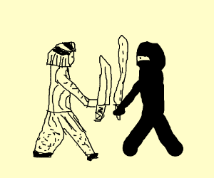 Samurai and ninja fight