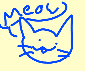 blue cat with mustache saying meow