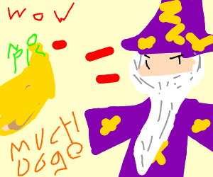 doge shooting a wizard with tail