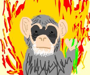 Flame monkey (black eyes) holds oozing green '