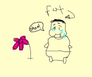 fatty gets sad over pink flower