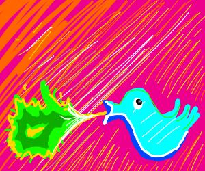 twitter bird puking everywhere