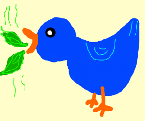 A blue duck spewing green fire